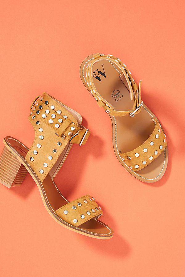 e86018b16d Vanessa Wu Studded Block Heeled Sandals | Anthropologie