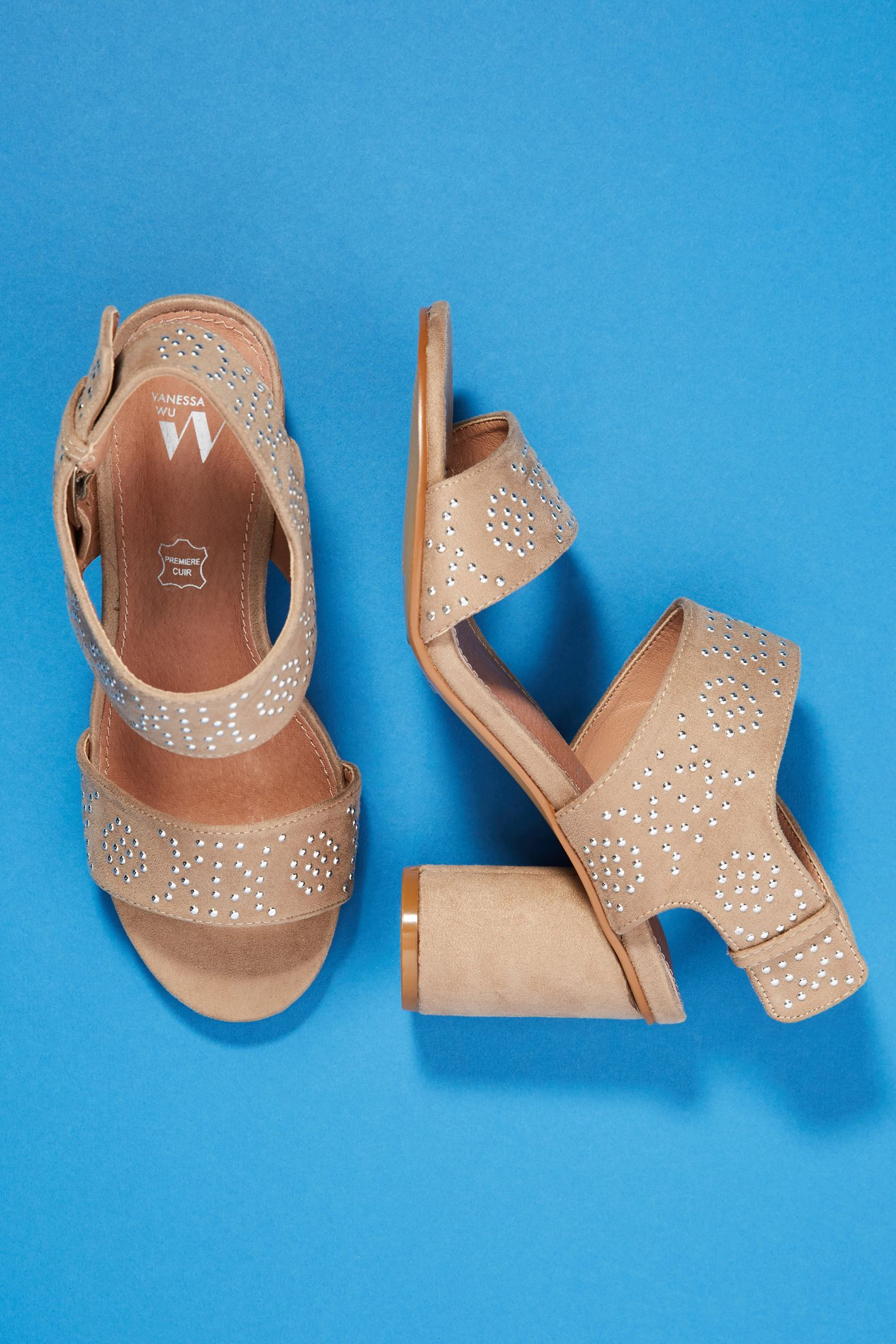 19e1a0aa88 Vanessa Wu Studded Heeled Sandals | Anthropologie