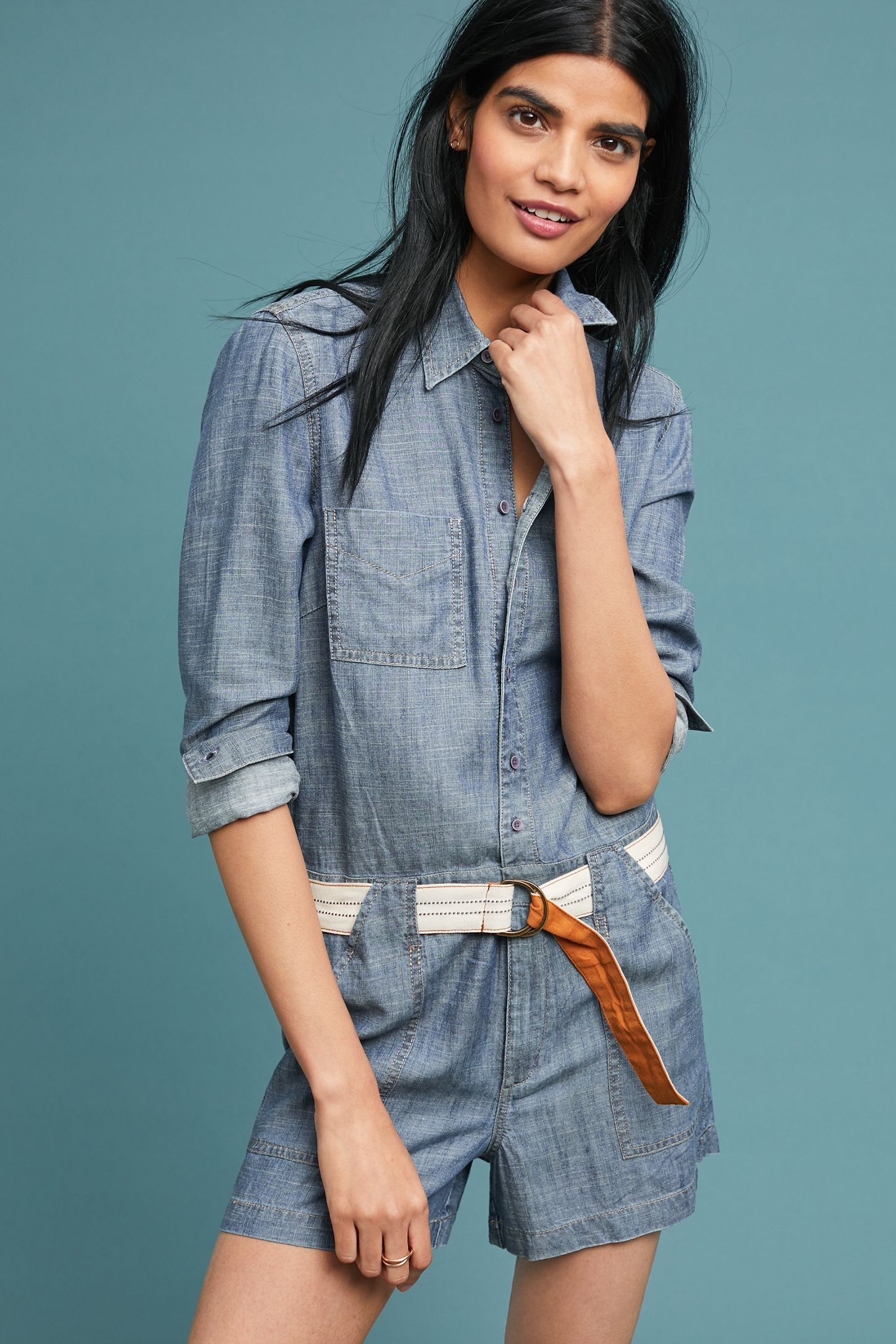 99dd37499904 Level 99 Bailey Chambray Romper