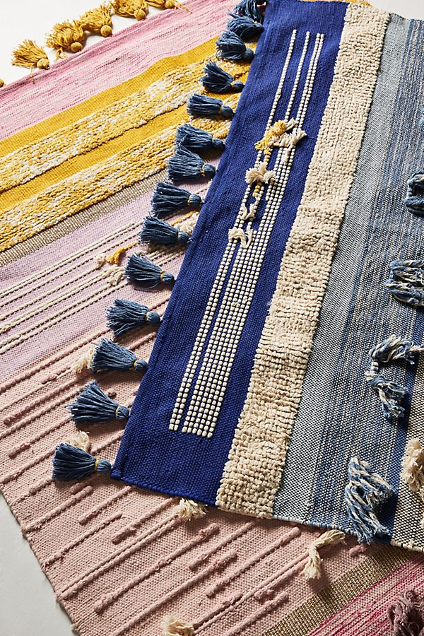 Slide View: 4: All Roads Texture-Striped Flatweave Rug