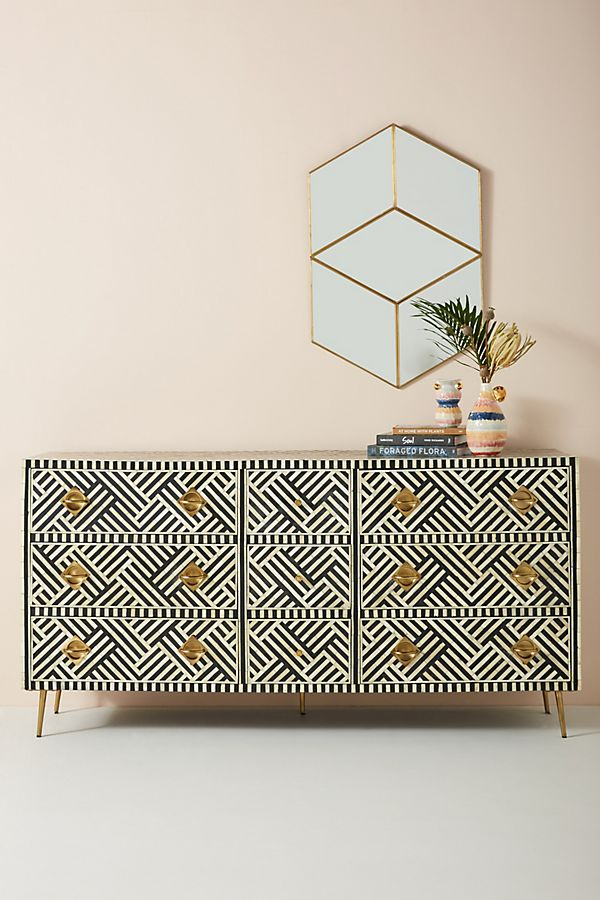 Slide View: 1: Optical Inlay Nine-Drawer Dresser