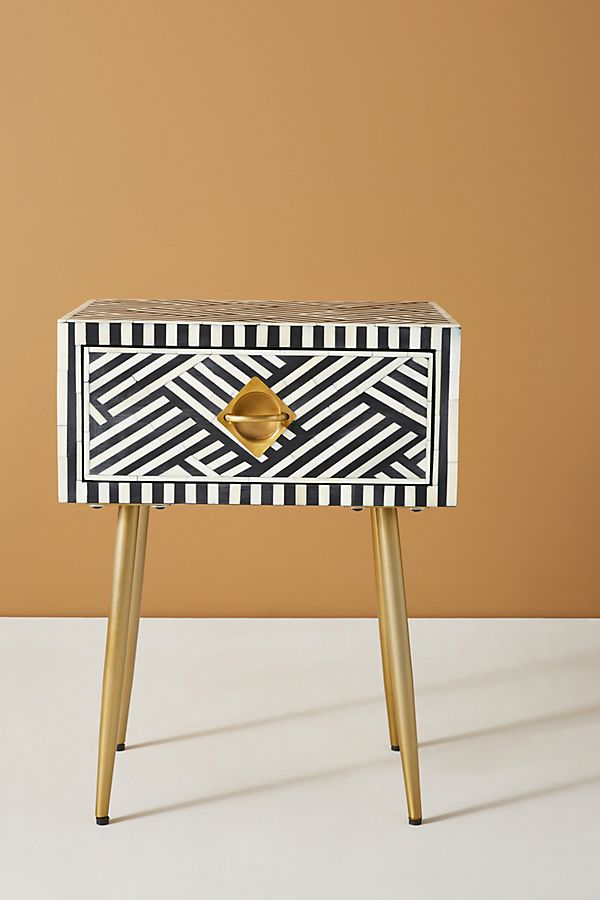 Slide View: 2: Optical Inlay Nightstand