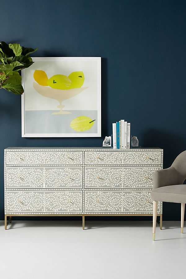 Slide View: 1: Scroll Vine Inlay Six-Drawer Dresser