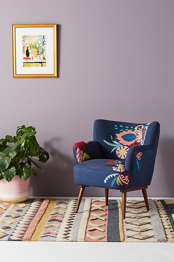 Felted Floral Petite Accent Chair | Anthropologie