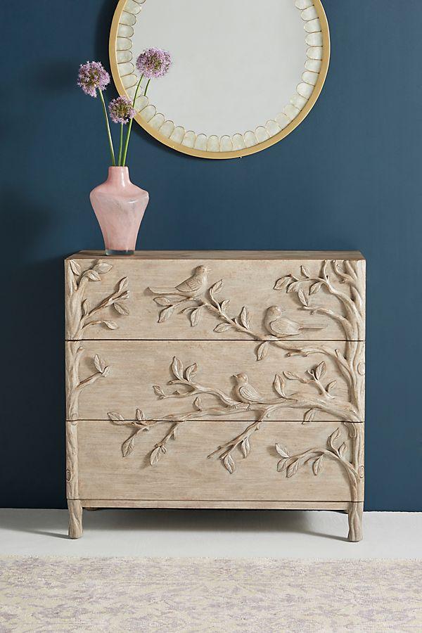 Slide View: 1: Handcarved Ornithology Three-Drawer Dresser
