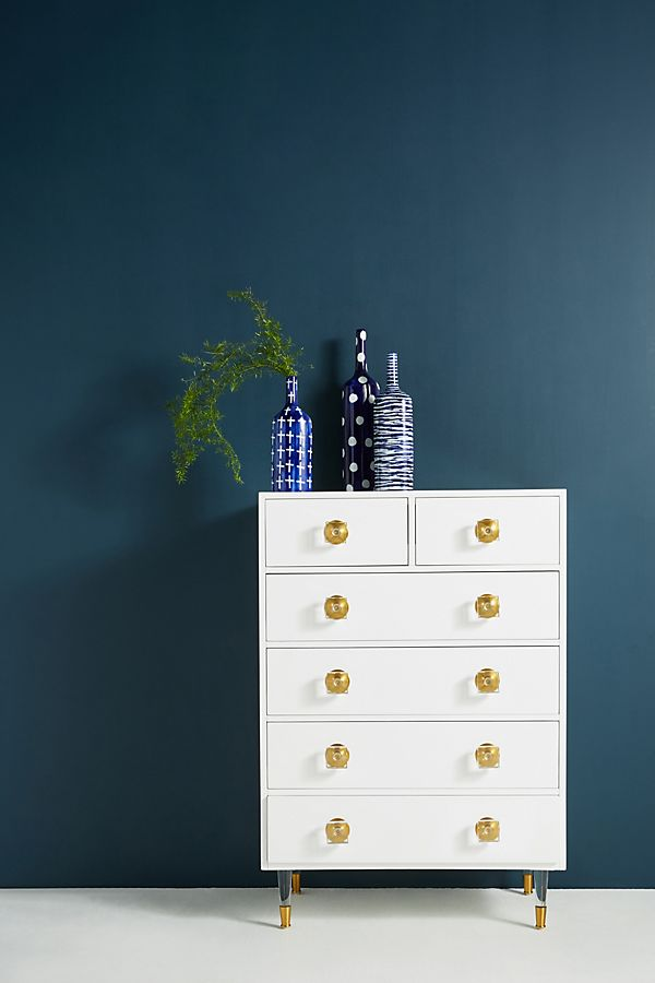Slide View: 1: Lacquered Regency Six-Drawer Dresser