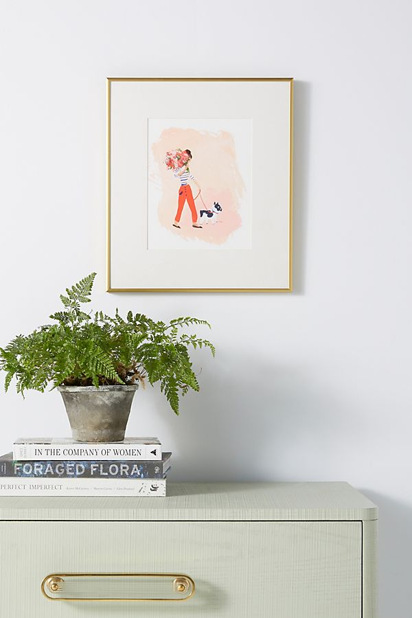 Slide View: 1: Woman With Dog Wall Art