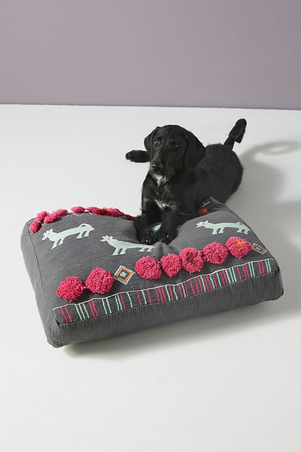 Slide View: 1: Plush Applique Dog Bed