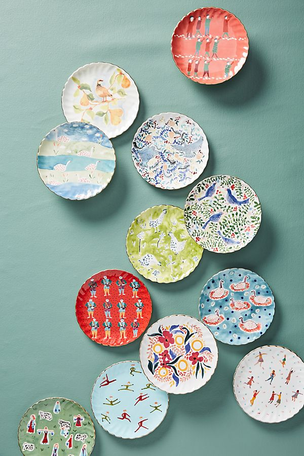 Christmas Plates.Twelve Days Of Christmas Canape Plates Set Of 12