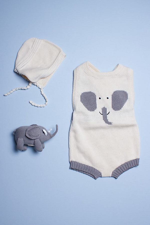 Slide View: 1: Estella Organic Baby Gift Set With Sleeveless Romper, Bonnet Hat & Elephant Rattle