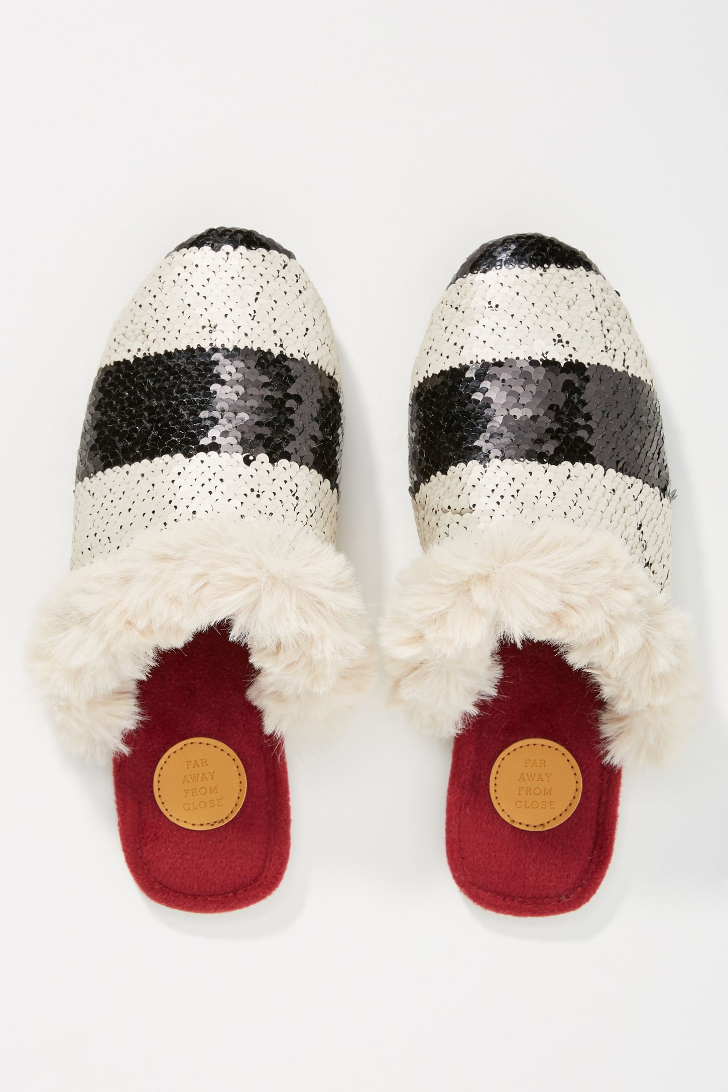aef26479a Far Away From Close Striped + Sequined Slipper Slides