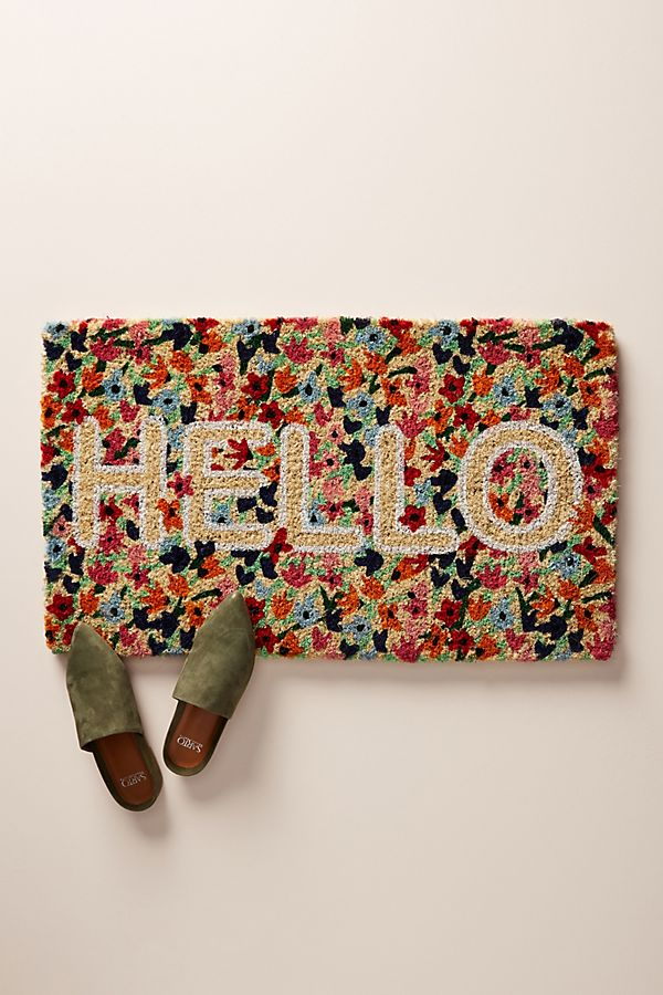 Slide View: 1: Floral Greeting Doormat