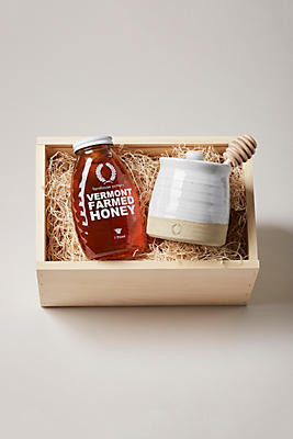 Slide View: 1: Farmhouse Pottery Beehive Honey Pot and Honey Gift Set
