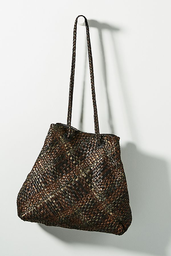 Slide View  1  En Shalla Woven Metallic Leather Tote Bag