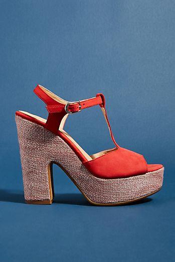 c67be6ee927 Anthropologie Glitz T-Strap Platform Heels