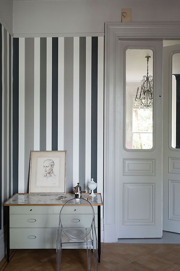 Slide View: 1: Farrow & Ball Chromatic Stripe Wallpaper