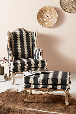 Slide View: 1: Suren-Striped Rada Wingback Chair
