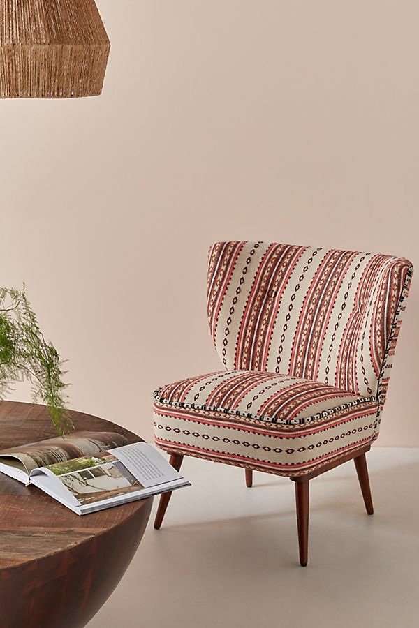 Slide View: 1: Cheyenne-Striped Woven Petite Accent Chair