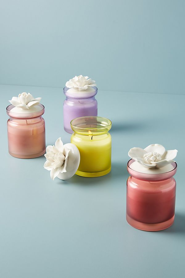 Pastel Color Ceramic Flower Spring Candle from Anthropologie