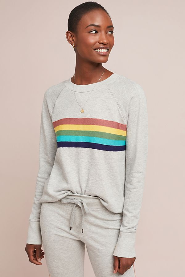b0af8682fd6 Slide View  1  Sundry Rainbow-Striped Sweatshirt