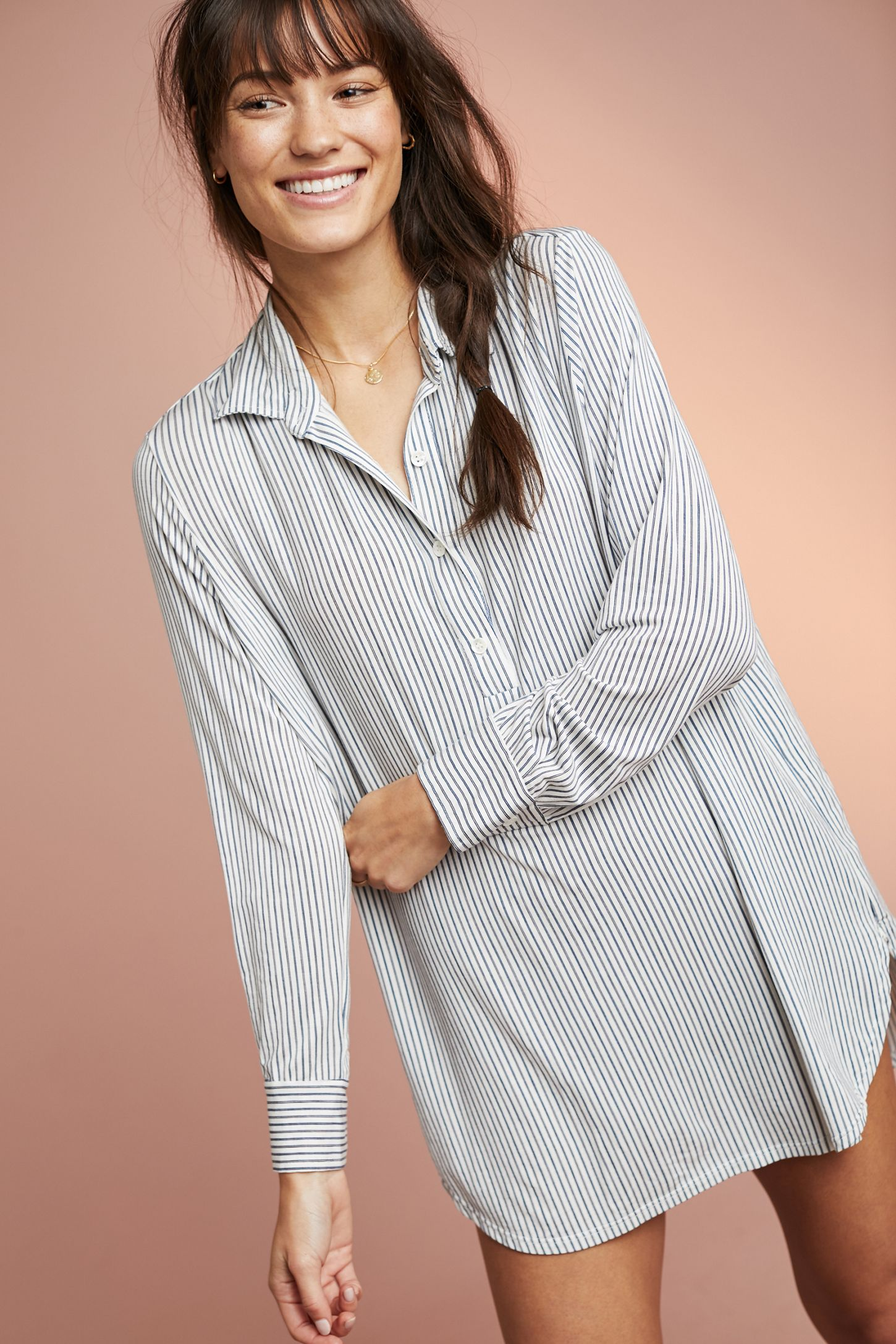 0def14e1f34f45 Eberjey Nordic Striped Sleep Shirt