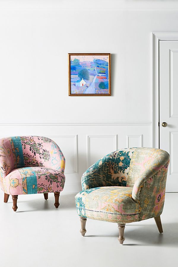 Slide View: 1: Rug-Printed Accent Chair