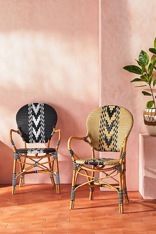 Slide View: 1: Capri Striped Indoor/Outdoor Bistro Chair