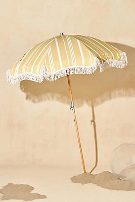 Yellow Beach and Backyard Umbrella with Tassles