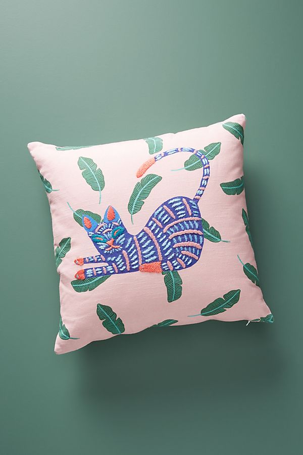 Slide View: 1: Embroidered Cat Pillow