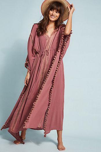 4929f4ee210b6b Michael Stars Tasseled Cover-Up Dress