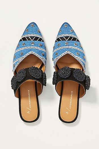 f041490360c Anthropologie Devin Embellished Slides