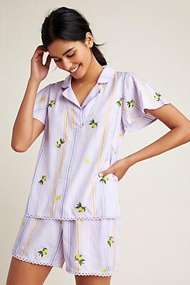 Slide View: 1: Lemon-Embroidered Sleep Top