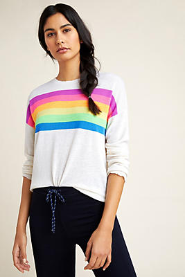 Slide View: 1: Sundry Rainbow-Striped Sweater