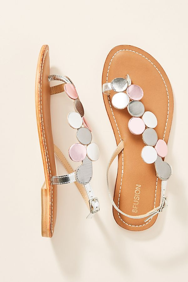 9d46b7c8f4f Coral Blue Metallic Leather Sandals