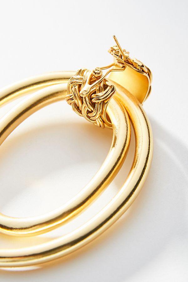 e15fac05da570 Liza Echeverry Braided 24K Gold-Plated Hoop Earrings
