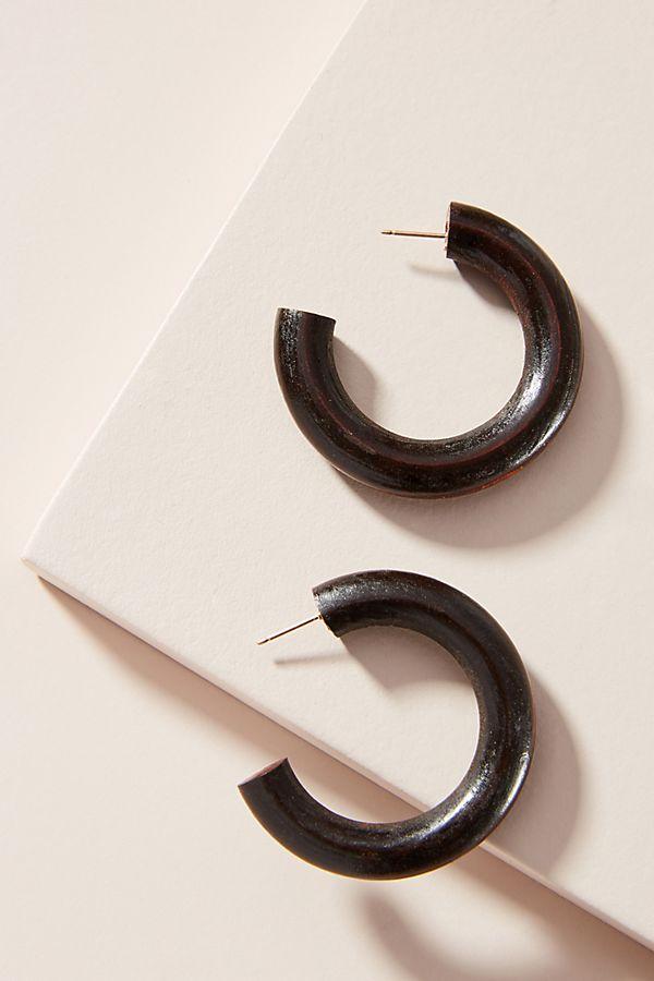 Slide View: 1: Sophie Monet Arbolado Wooden Hoop Earrings