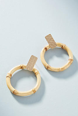 Bamboo Hooped Post Earrings by Anthropologie