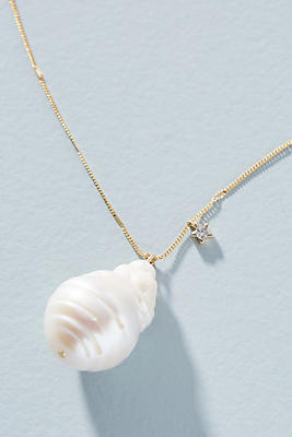 Oversized Pearl Pendant Necklace by Serefina