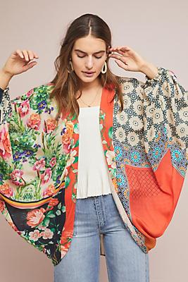 Slide View: 1: Dylan Floral Cocoon Kimono