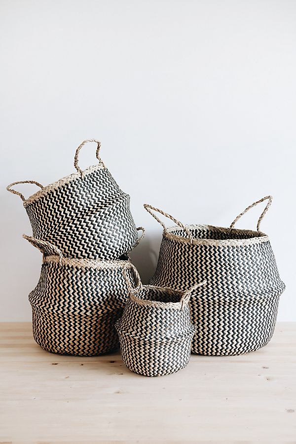 Slide View: 1: Connected Goods Lou Zig Zag Belly Basket