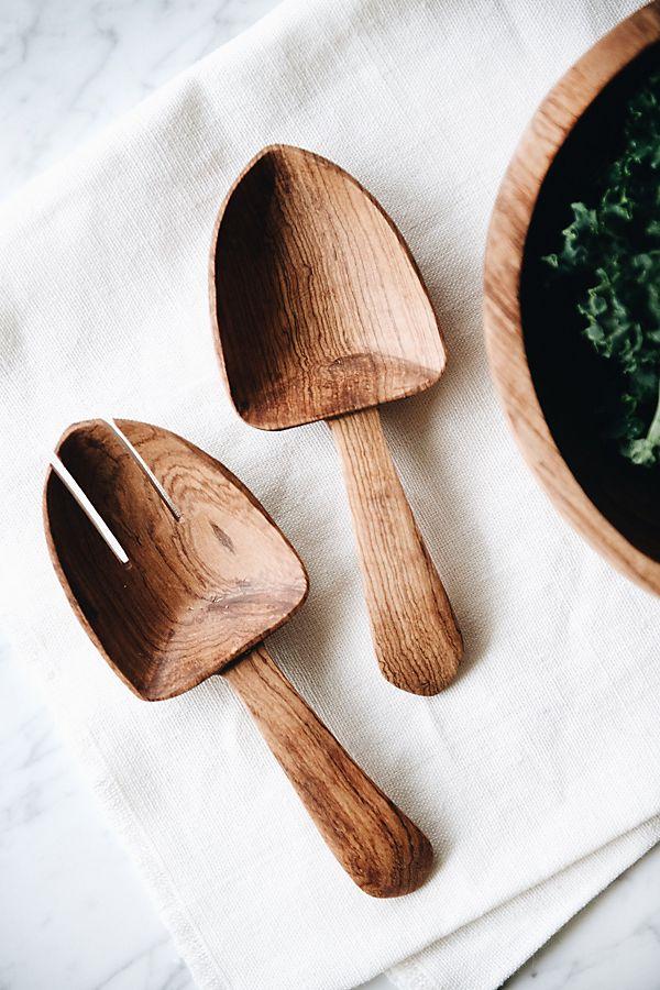 Slide View: 2: Connected Goods Olive Wood Shovel Salad Servers