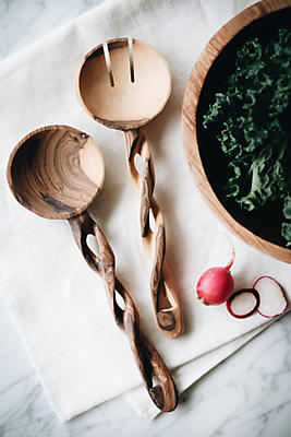 Slide View: 2: Connected Goods Twisted Olive Wood Salad Servers