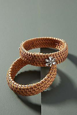 Slide View: 1: Wicker Bangle Bracelet Set