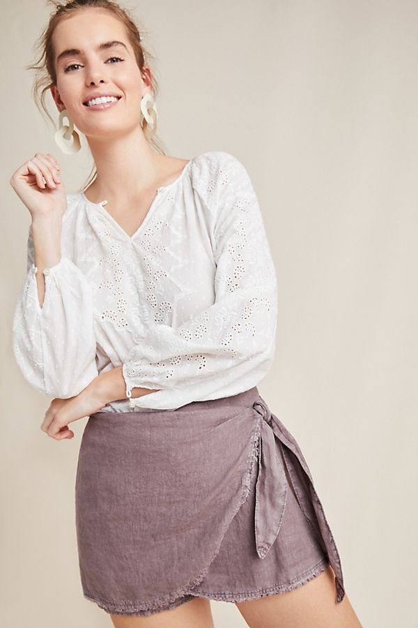 Slide View: 1: Cloth & Stone Skirted Linen Shorts