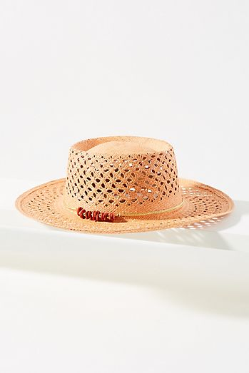 5c559b6570e Beaded Straw Boater Hat