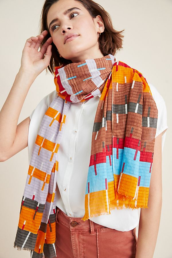 Slide View: 1: Striped Cotton Scarf