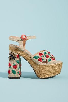 88e5941fcb Castaner Strawberry-Embellished Platform Sandals   Anthropologie