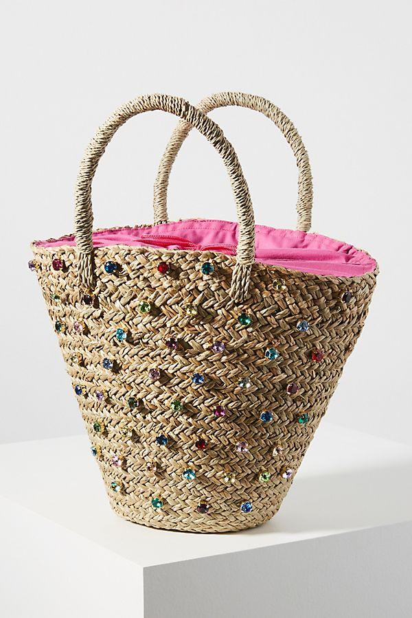 Slide View: 1: Mystique Rainbow Jeweled Tote Bag