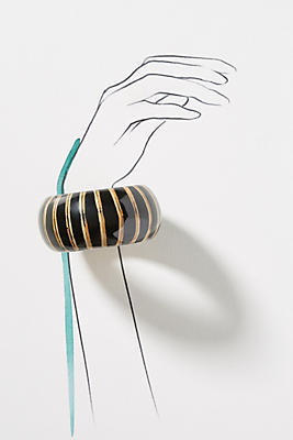 Slide View: 3: Striped Wooden Bangle Bracelet
