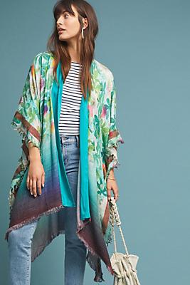 Slide View: 1: Tropical Blooms Kimono